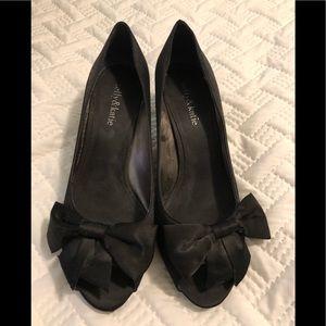 Kelly and Katie kitten heel black shoes
